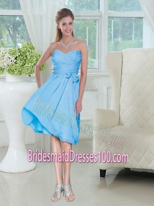 Discount Sweetheart Ruched Chiffon Bridesmaid Dress with Bowknot