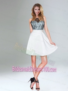 Discount White A Line Bridesmaid Dress with Lace Covered Top