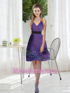 2015 Discount V Neck Bridesmaid Dress with Layered Hem