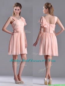 Simple Empire Ruched Peach Bridesmaid Dress with Asymmetrical Neckline