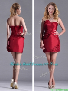 Best Selling Column Wine Red Modern Bridesmaid Dress with Asymmetrical Neckline