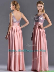 Lovely Empire Straps Zipper Up Peach Modern Bridesmaid Dress with Sequins