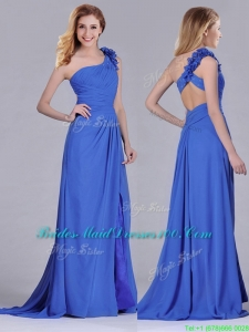 Modest Beaded and Applique Criss Cross Modern Bridesmaid Dress with Brush Train