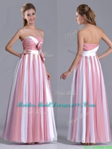 Hot Sale Bowknot Strapless White and Pink 2016 Bridesmaid Dress with Side Zipper