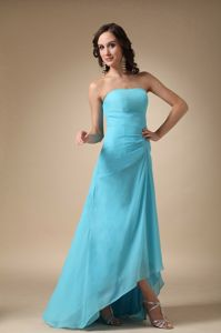 Customized Strapless High-low Aqua Blue Dresses for Bridesmaid