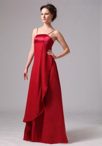 Satin Wine Red Long Junior Bridesmaid Dress with Spaghetti Straps