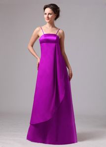 Spaghetti Straps Empire Long Bridesmaid Dresses in Light Purple