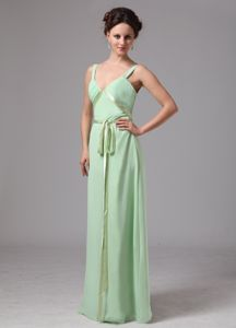 Qualified Straps Apple Green Long Dress for Bridesmaid with Sash