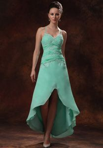 Cheap Straps High-low Appliqued Apple Green Bridesmaid Dress