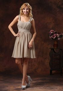 2013 Straps Knee-length Grey Dress for Bridesmaid on Discount