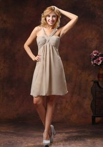 Modest Chiffon Straps Gray Short Bridesmaid Dresses under 100