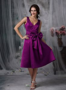 V-neck Tea-length Bridesmaid Dress in Eggplant Purple with Bow
