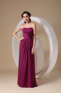 2013 Strapless Burgundy Long Maid of Honor Dress with Flowers