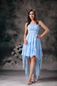 Best Ruched Light Blue Bridesmaid Dress with Asymmetrical Hem
