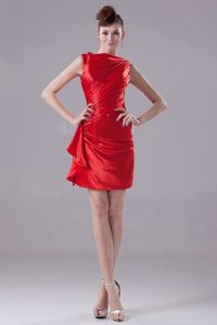 2012 Hot Sale Taffeta Bateau Neck Red Mini Dress for Bridesmaid