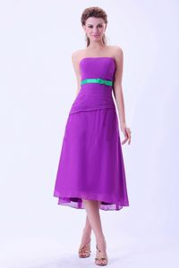 2013 Strapless Tea-length Light Purple Junior Bridesmaid Dresses