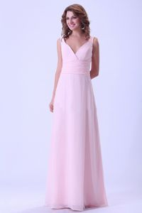 Custom Made V-neck Baby Pink Long Dresses for Bridesmaid