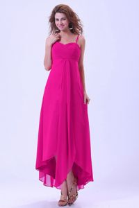 Hot Pink Bridesmaid Dresses with Asymmetrical Hem And Straps