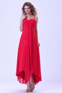 Simple High-low Red Bridesmaid Dresses with Spaghetti Straps