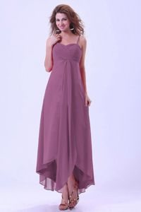Spaghetti Straps Purple Bridesmaid Dress with Asymmetrical Hem