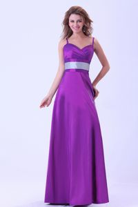 Elegant Floor-length Spaghetti Straps Purple Dress for Bridesmaid