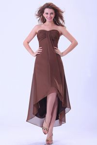 Custom Made High-low Brown Bridesmaid Dress for Wholesale