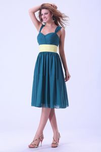 Low Price Chiffon Straps Teal Knee-length Maid of Honor Dress