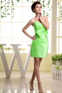 Mini-length Maid of Honor Dress in Spring Green with Bowknot