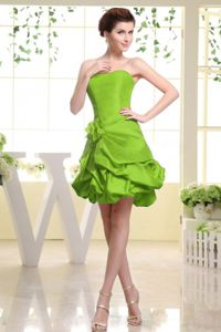 Spring Green Short Bridesmaid Dresses with Pick-ups And Flower