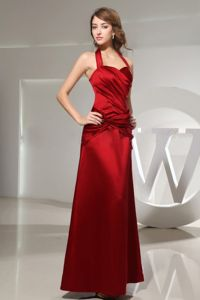 Halter Wine Red Long Dress for Bridesmaid for Church Wedding