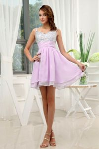 Straps Lavender and Silver Mini Bridesmaid Dress with Rhinestones