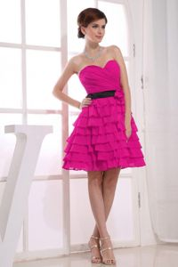 Sweetheart Short Fuchsia Bridesmaid Dresses with Ruffled Layers