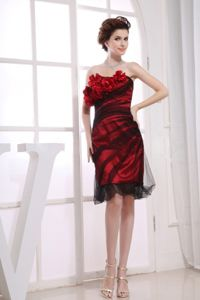 Satin Tulle Red And Black Short Bridesmaid Dresses with Flowers