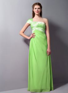 Chiffon Spring Green Beaded Long Bridesmaid Dress One Shoulder
