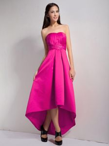 Strapless High-low Appliqued Hot Pink Junior Bridesmaid Dress