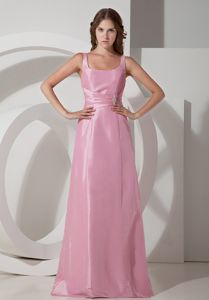 on Sale Rose Pink Empire Square Neck Long Bridesmaid Dress