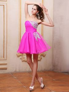 Strapless Appliqued Hot Pink Mini-length Junior Bridesmaid Dress