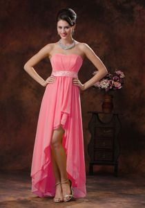 High-low Strapless Appliqued Waist Watermelon Bridesmaid Dress