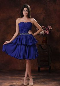 Strapless Pleated Layers Short Royal Blue Beaded Bridesmaid Dress