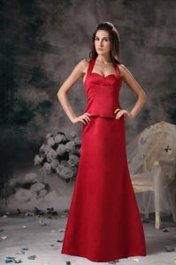 Most Popular Halter Cool Back Wine Red Dresses for Bridesmaid