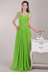 Spring Green Straps Ruched Beaded Waist Long Bridesmaid Dresses