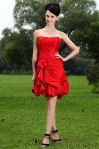 Strapless Hand Made Flower Pick-ups Red Short Bridesmaid Dress