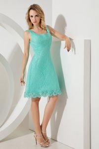 Square Mini-length Turquoise Lace Accent Girls Bridesmaid Dress