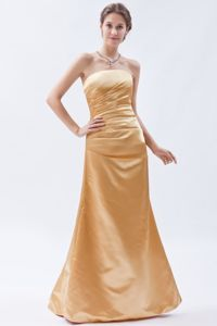 Strapless Ruched Mermaid Golden Fashion Dresses for Bridesmaid
