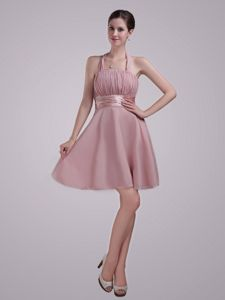Inexpensive Mini-length Halter Ruched Chiffon Bridesmaid Dresses