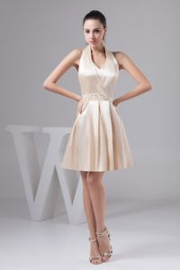 Cheap Halter Mini-length Champagne Beading Bridesmaids Dresses