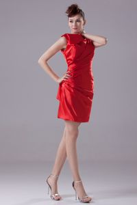 High Neck Ruched Red Mini-length Bridesmaid Dress for Discount