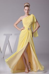 Yellow One Shoulder High Slit Ruched Beaded Bridesmaid Dress