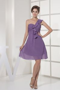 Discount One Shoulder Mini-length Ruched Dresses for Bridesmaid