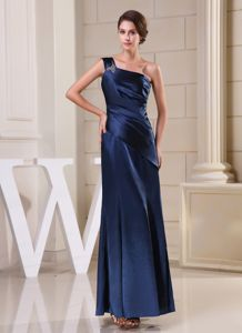 One Shoulder Navy Blue Beading Ruched Dresses for Bridesmaid